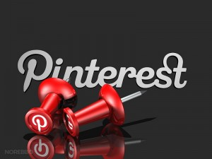 3d illustration of two large red push pins with the Pinterest icon positioned in front of the script logo